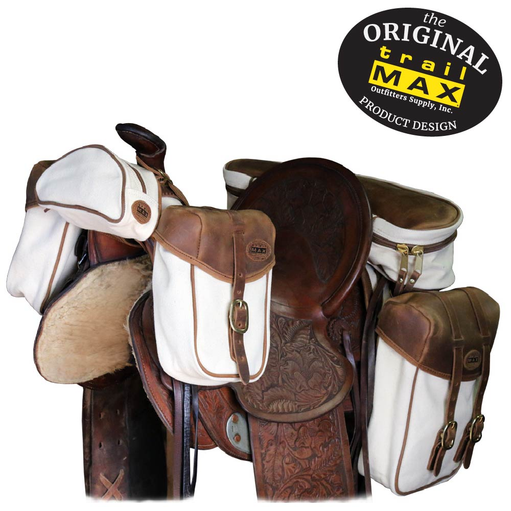 6be42da5a TrailMax Canvas & Leather Western Horse Saddlebags, 4 pc Set