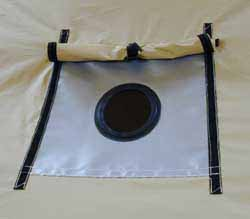 Stove Jack shown open & Outfitters Supply - Wall Tent Stove Jacks