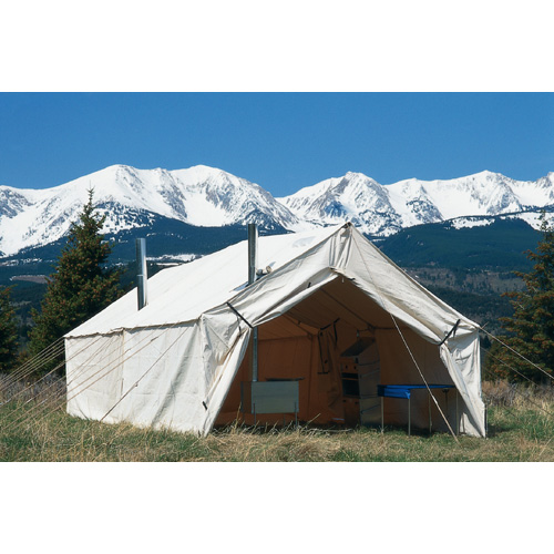 A Canvas Wall Tent by Montana Canvas can be enlarged and improved with the addition of a Wall Tent Cook Shack.