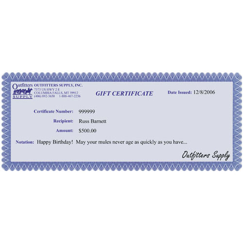 Outfitters Supply Gift Certificate